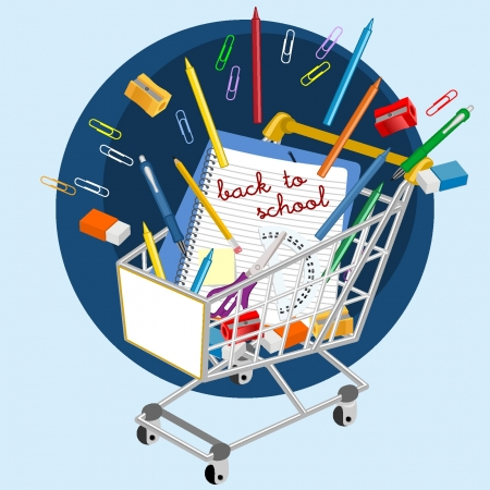 learning materials: Shopping cart with school supplies