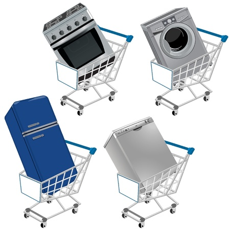 Shopping cart with appliances Vector