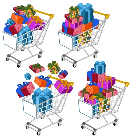 package printing: Shopping cart with gifts Illustration