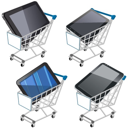 Shopping cart with tablet Stock Vector - 18134213