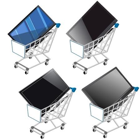 rebates: Cesta de compras con TV de pantalla plana Vectores