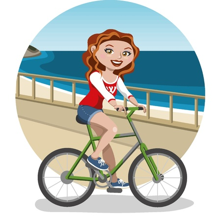 Young woman on bike Stock Vector - 18134192