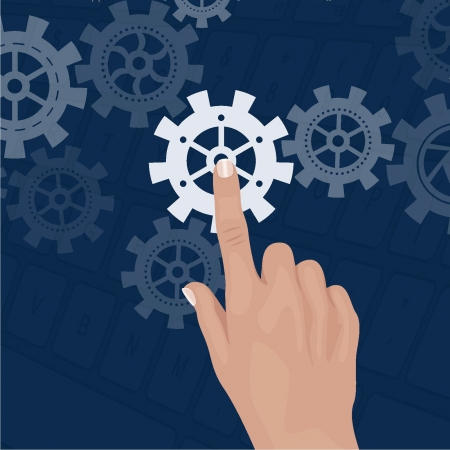 Touch screen with gears Stock Vector - 18134209