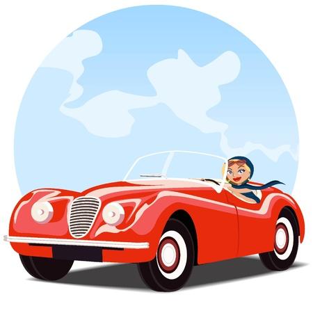 convertible car: Chica en el viejo coche convertible rojo