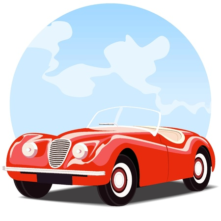 Antique convertible car with sky background Vector