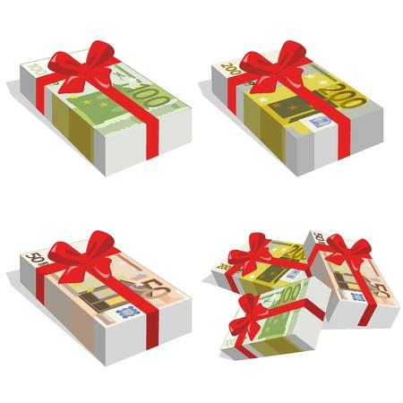 Pila de cuentas de 50, 100 y 200 euros con la cinta Vectores