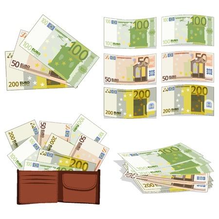 De euros en diferentes formas Vectores