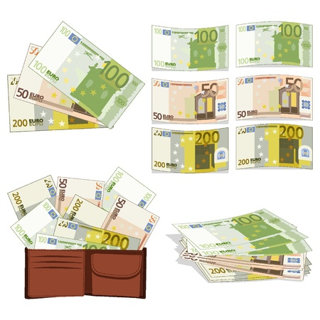 Euros in different forms Illustration