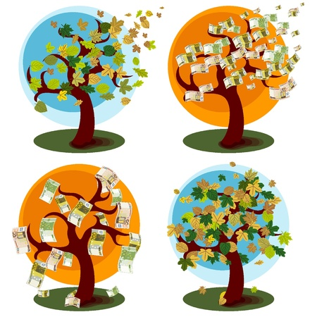 Money Tree and tree with autumn leaves Illustration