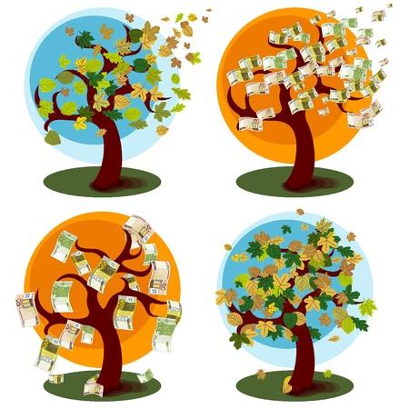 Árbol de dinero y el árbol con hojas de otoño