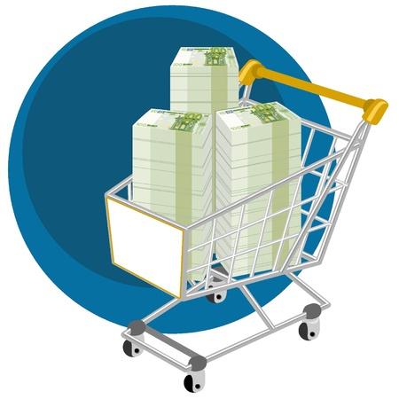 Shopping cart full of money Vectores