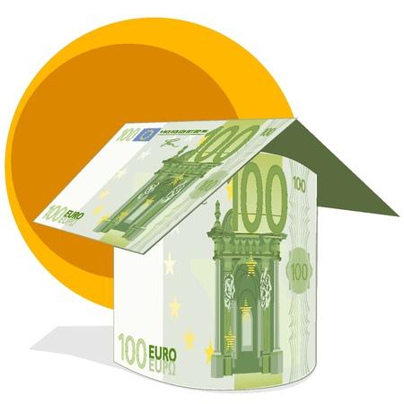 Casa construida con 100 billetes en euros Foto de archivo - 18134317
