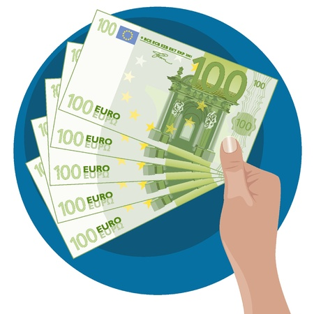 Mano que muestra cinco 100 billetes de euro Vectores