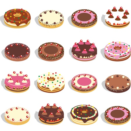 Cakes and pies 12 different flavors Vector