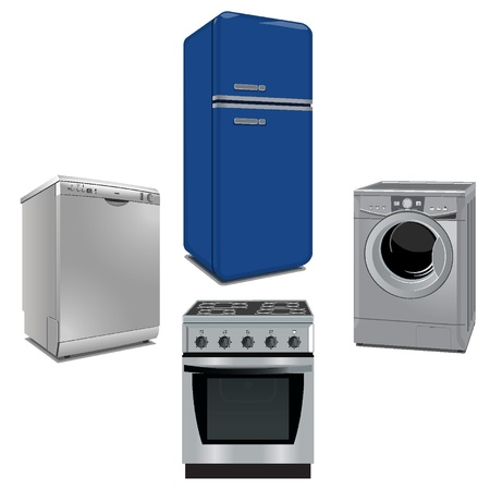 Algunos electrodomésticos importantes y cocina Vectores