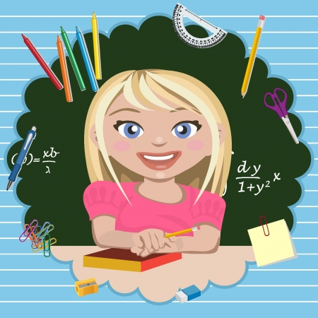 Little girl student Vector