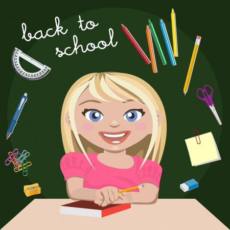 Little girl student Stock Vector - 18134323