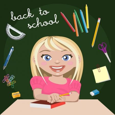 waxes: Little girl student
