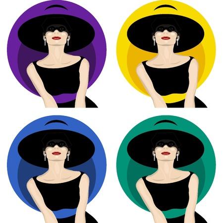 모자와 여자 일러스트