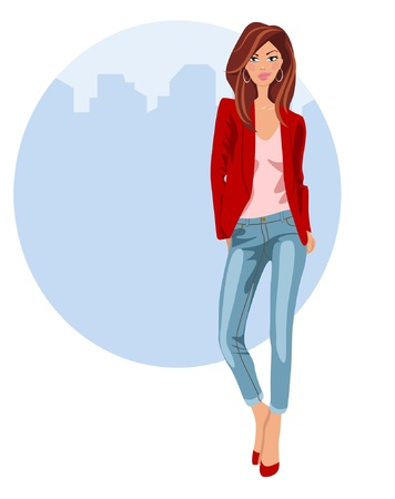 denim jacket: Young woman in jeans and heels