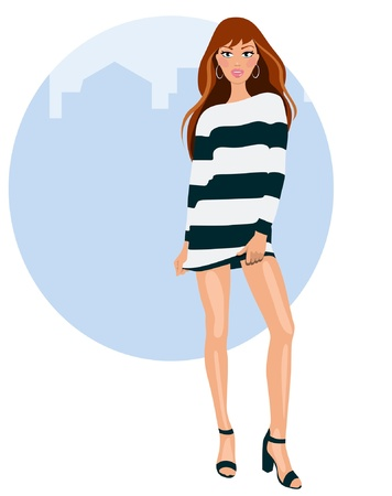 casual dress: Young woman with dress and heels Illustration