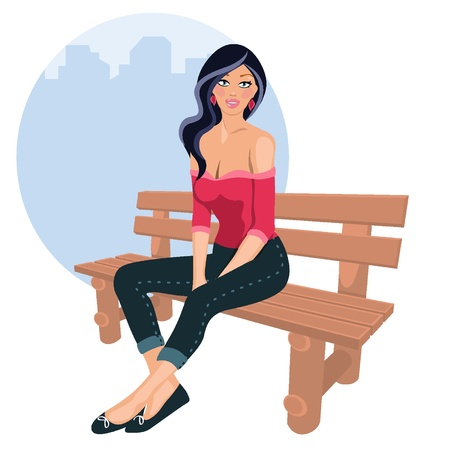 sexy girls: Young woman sitting Illustration