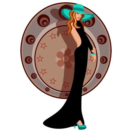 귀걸이: 모자와 드레스와 우아한 여자 일러스트