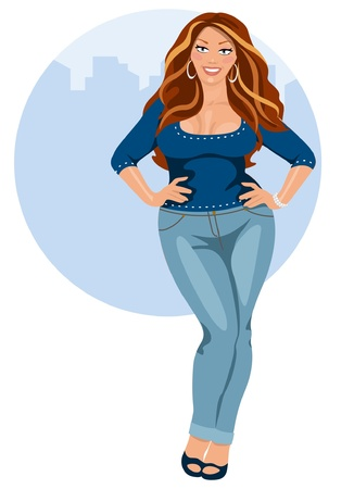 curvy: Young woman beautiful, tubby Illustration