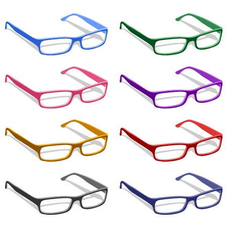 Glasses in different colors