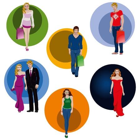 젊은 사람들이 다양한, 우아한 드레스와 비공식 일러스트