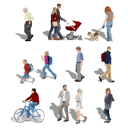 dog walk: People walking Illustration
