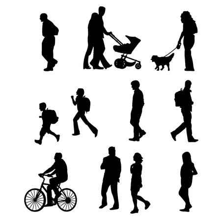a walk: People walking Illustration