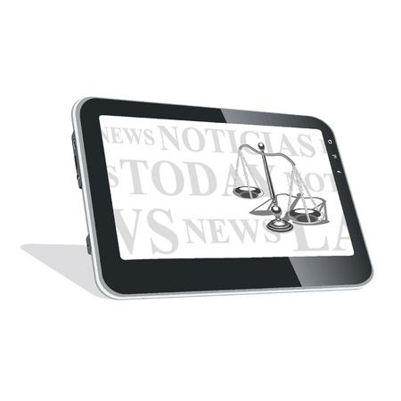 Tablet PC con noticias sobre las leyes