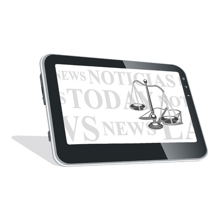 Tablet PC with news on laws Vector