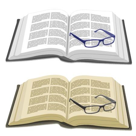 Open boek en leesbril Vector Illustratie