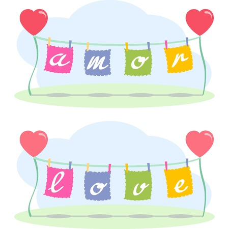 love letters: Love letters and hearts Illustration