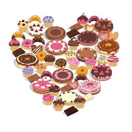 Dulces forman un corazón