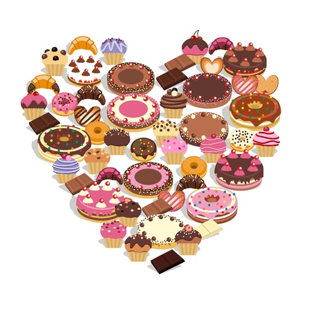 Sweets forming a heart Illustration