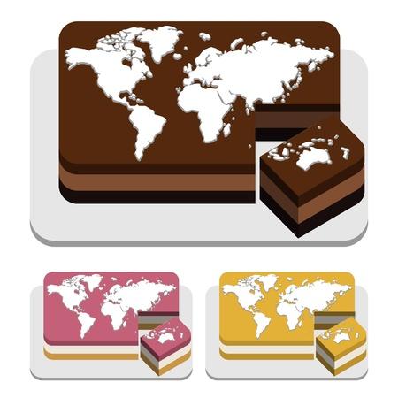 Mundo tarta rectangular Foto de archivo - 18134356