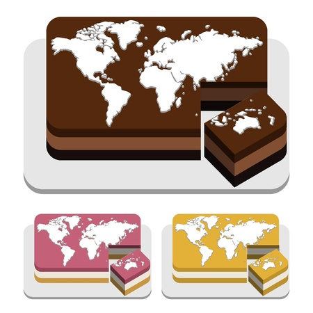 Rectangular cake world Ilustração