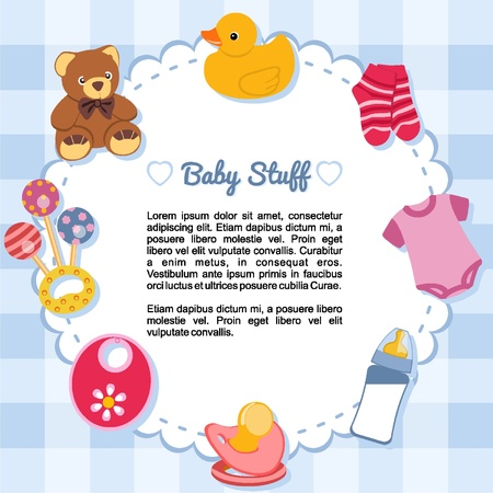 stuff toys: Baby objects forming a frame Illustration