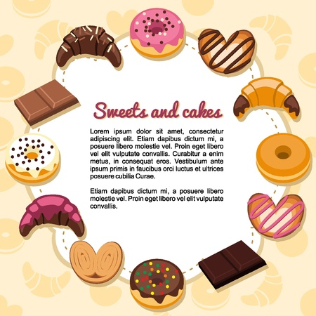 sweet bun: Sweets and pastries forming a frame Illustration