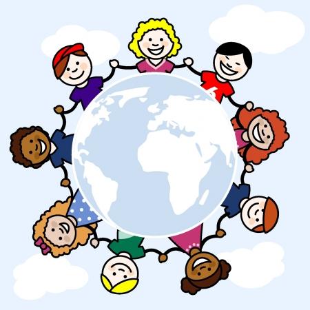 familia animada: Las ni�as y los ni�os de corta edad en un c�rculo, que es la zona del mundo