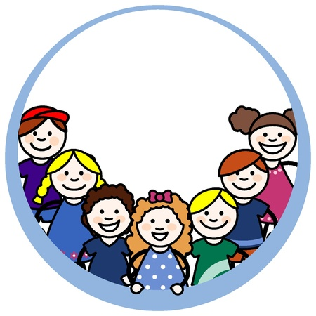 Girls and young children in a circular frame Stock Vector - 18134270