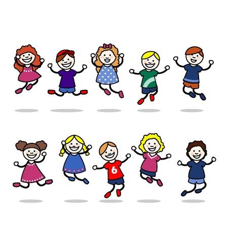 Los niños pequeños saltando y jugando