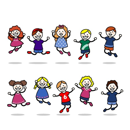 Small children jumping and playing Illustration
