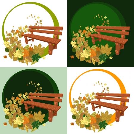 Banco y hojas de madera Vectores