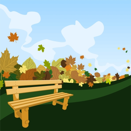 Wooden bench on a road with leaves Vectores