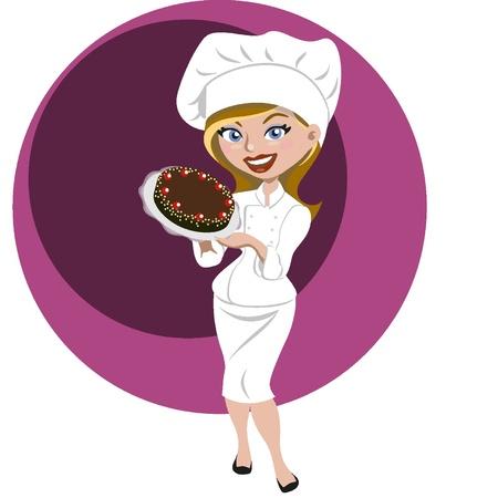 Female pastry Ilustração