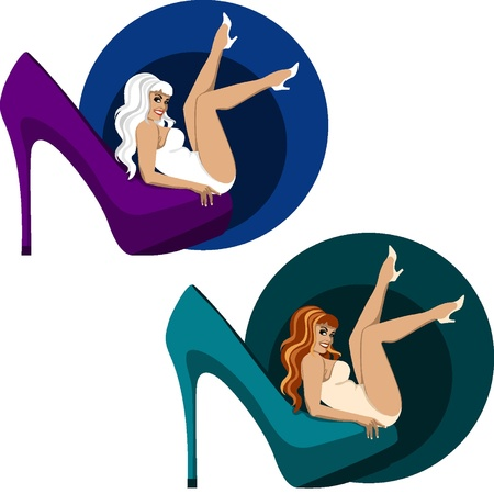 Sensual woman and high heel shoe Illustration